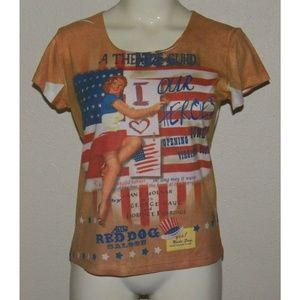Tops - NWT Theatre Guild Our Heroes Flag Brown Shirt MED